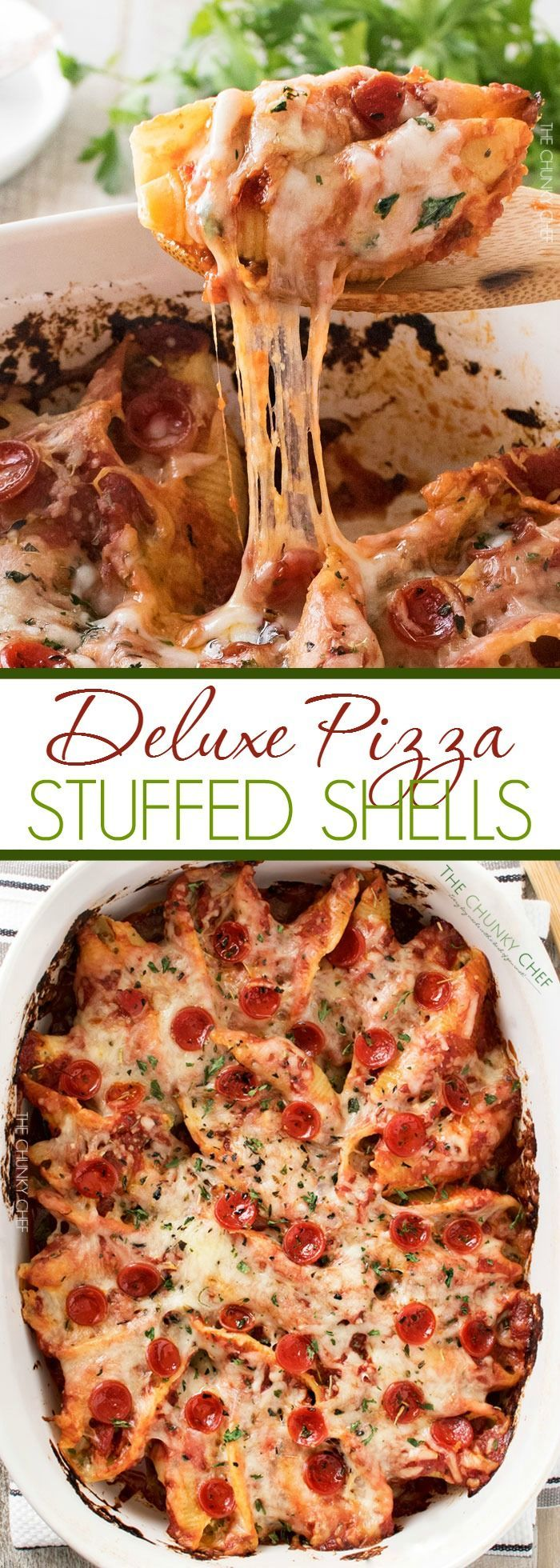 Deluxe Pizza Stuffed Shells   Classic stuffed shells meet deluxe pizza in this fusion of Italian meals... they're easy to make, freezer friendly, and great for families!   http://thechunkychef.com