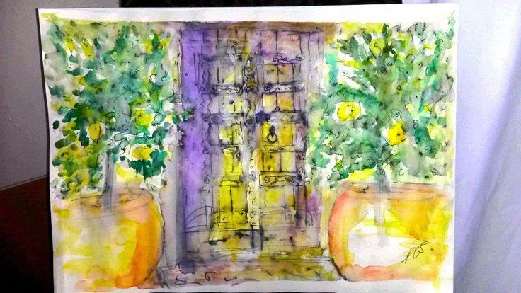 Lemon Trees.Watercolour on 140 gram paper. 420 mm 594 mm. Original.