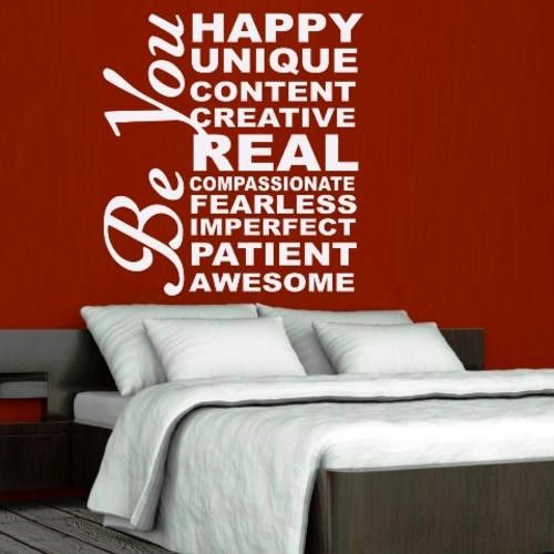 BE HAPPY BE YOU NSPIRATIONAL QUOTATION 1 WALL ART STICKER MED VINYL DECAL