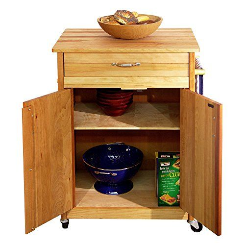 Catskill Craftsmen Butcher Block Cart with Flat Doors -- You can get more details by clicking on the image.