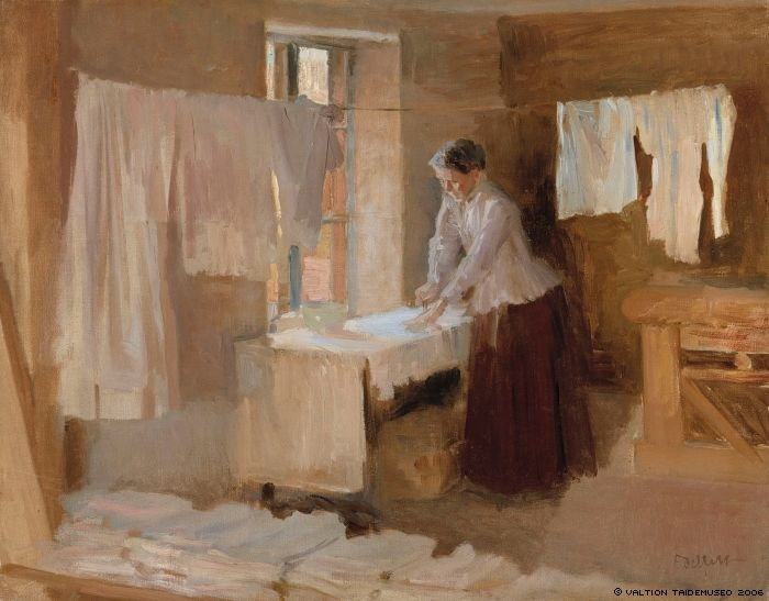 Edelfelt, Albert  Woman Ironing, study for the Washerwomen, 1888