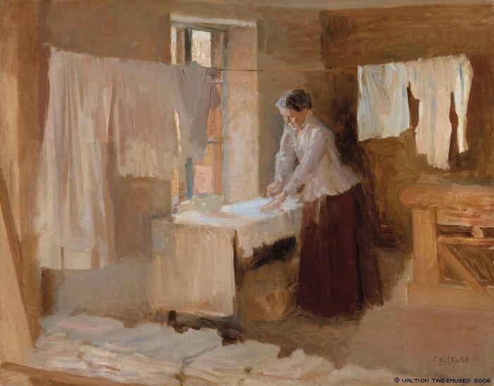 Woman Ironing ~ Albert Edelfelt ~ (Finnish: 1854-1905)