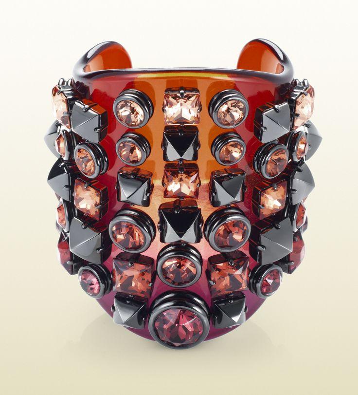 Gucci plexiglass cuff with crystal studs Gucci Fall/Winter 2013 Cuffs