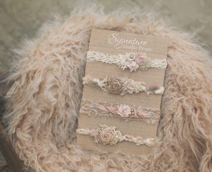 Wispy cappuccino fur vintage headbands bundle signature studio props