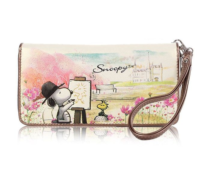 New Peanuts Snoopy PU Leather Zipper Checkbook Wallet Purse free shipping