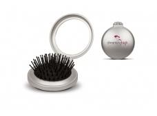 Compact setje: haarborstel (rubber) en spiegel