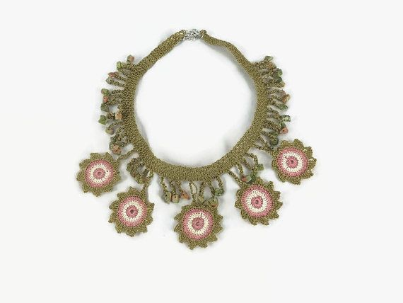 Flower Statement Necklace  / Pastel colors Crochet  by Nakkashe