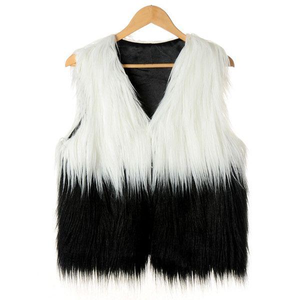 Fashion V Neck Two Tone Faux Fur Vest (675 EGP) ❤ liked on Polyvore featuring outerwear, vests, vest waistcoat, faux fur waistcoat, faux fur vests, fake fur vests and v neck vest