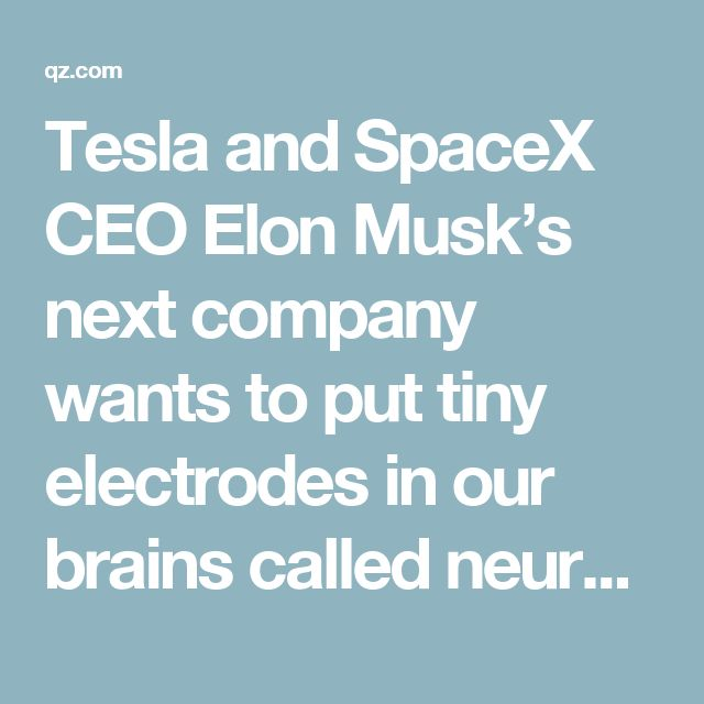 Tesla and SpaceX CEO Elon Musk's next company wants to put tiny electrodes in our brains called neural lace so we can survive the age of artificial intelligence — Quartz