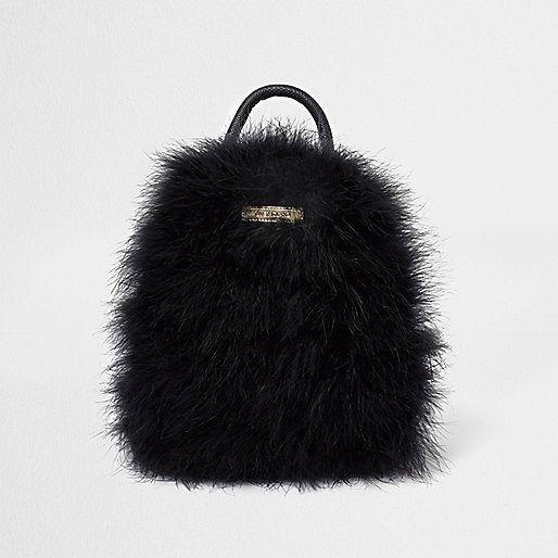 Mini sac à dos à plumes noirs - Sacs à dos - Maroquinerie - Femme