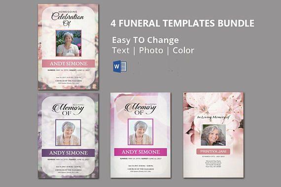 Printable Funeral Program Template 4 Funeral Template Bundle