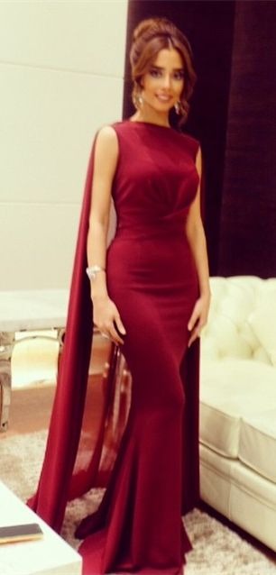 DIYouth.com Burgundy Mermaid Robe Prom Dresses with Cape Sweep Train Evening Gowns, Mermaid prom dresses, Burgundy dress prom,simple evening dresses,Mermaid cocktail dresses,long party dresses