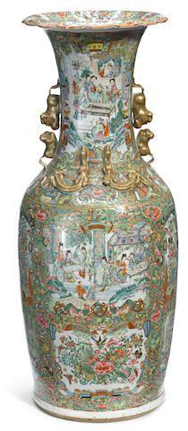 A large Canton rose medallion porcelain vase late 19th century