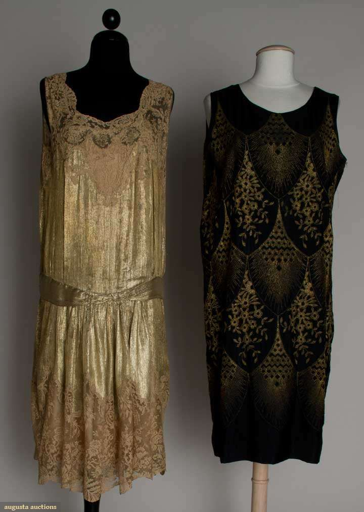 Augusta Auctions, March 21, 2012 NYC, Lot 236: Two Lame Party Dresses, Mid 1920s