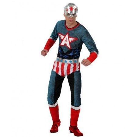 Disfraz de Capitan America Incluye Disfraz con calzon cinturon y mascara Composicin Punto y lame  http://www.disfracessimon.com/disfraces-adultos/2000-disfraz-capita-america-p-2000.html
