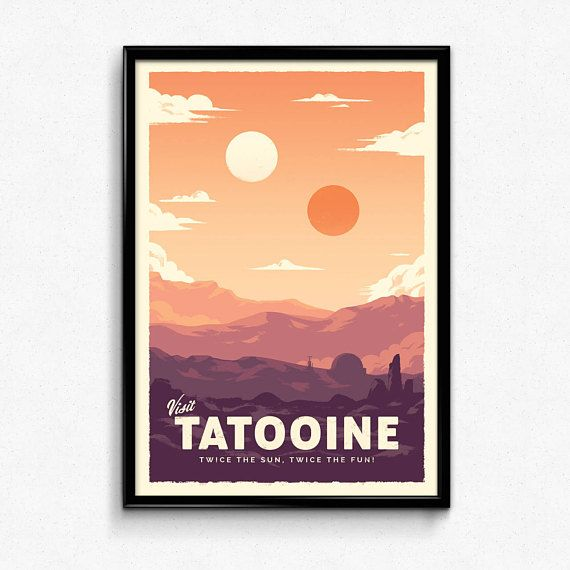 Tatooine Star Wars Retro Travel Poster Print Decor Gift Etsy Retro Travel Poster Poster Prints Star Wars Poster Art