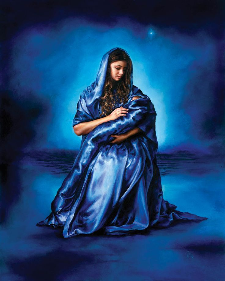 """Mother's Love, Akiane Kramarik. The artist's words: """"I painted Mary in a silky blue robe surrounded by a background palette of cerulean, cobalt and Persian blue. This is how I interpreted the vision of baby Jesus and his beautiful young mother. The robe connects both of them as if there were one. Mary is the symbol of love, warmth, affection, tenderness and devotion. Her story is the story of love and faith."""""""