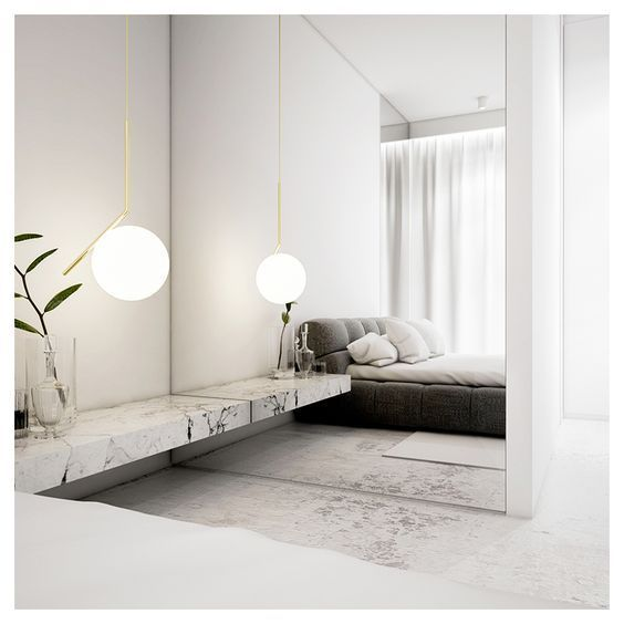 super white bedroom with marble