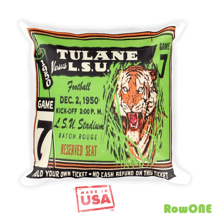 1950 LSU Tigers Retro Ticket Pillow. Vintage Ticket Stub pillows by Row One Brand. Made from over 3,000 authentic retro game tickets.