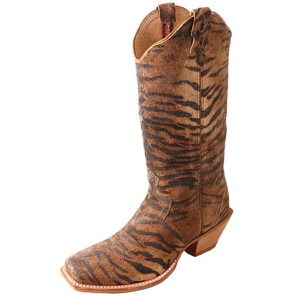 Women's Twisted X Steppin' Out Tall Tiger Cowgirl Boots ($100) ❤ liked on Polyvore featuring shoes, boots, twisted boots, tall cowboy boots, cowboy boots, tall cowgirl boots and tiger print boots