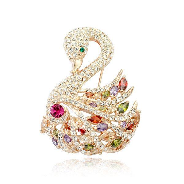 Новый стиль серебряный тон горный хрусталь стразы кристалл брошь лебедь брошь для невесты