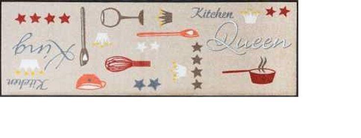 Sehr hochwertiger Küchenläufer kitchen Größe ca. 60 x 180 cm / Küchenmatte / Dekoläufer für Küche und Bar / Teppich Läufer Küche / waschbare Küchenläufer / Küchendeko Modell ,,COOK & WASH kitchen Queen / Kitchen King / Größe ca. 60 x 180 cm / Hergestellt in Europa, 5 Jahre Qualitätsgarantie Maschinenwaschbar bis 60° C, trocknergeeignet bis 90° C Öko-Tex®Standard 100, fußbodenheizungsgeeignet, PVC-frei