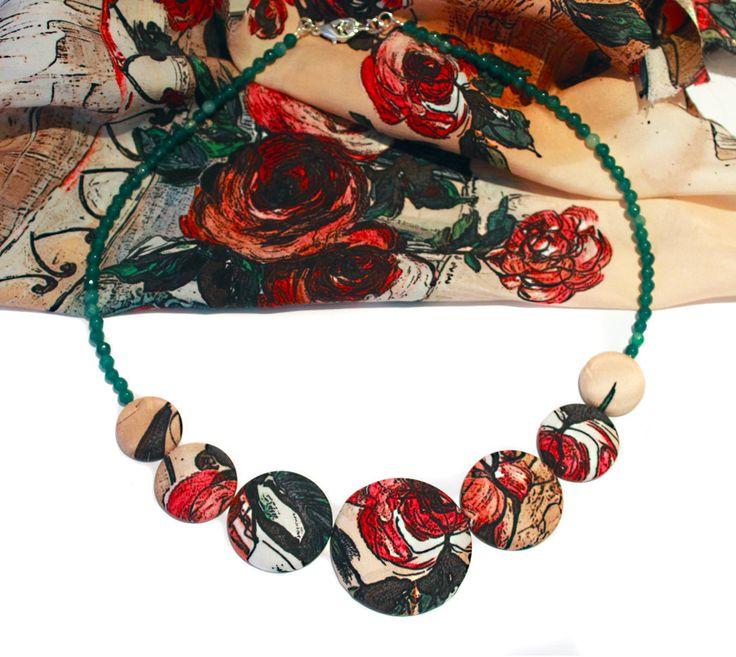 Collana rose in seta : Collane di barbara-del-rio
