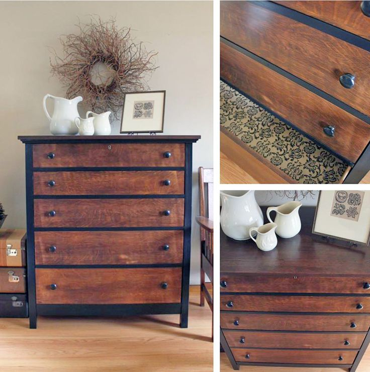 """This oak dresser had been in the family for over 50 years when my client decided to give this work horse an update. I stripped the top and refinished both the drawer fronts and top with Java Gel followed by several coats of Arm-R-Seal. The frame was lightly sanded and painted with three coats of Lamp Black and sealed with Arm-R-Seal as well. Hopefully this latest round of furniture TLC will give this sturdy little dresser another good 50 years of life!"" Trillium Park Designs of Oly..."
