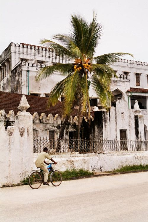 """Courtyard architectural view of dwellings or buildings in Stone Town, Zanzibar, Tanzania, East Africa showing the peaceful serenity and calmness typical of this island living."" - Photo by Amyn Nasser, All Rights Reserved."