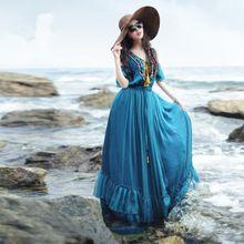 Платье шифон богемный рукав-бабочка, bohochic винтажный этнический макси с воланами без тары талия павлин синий XB0028X Boho(China (Mainland))