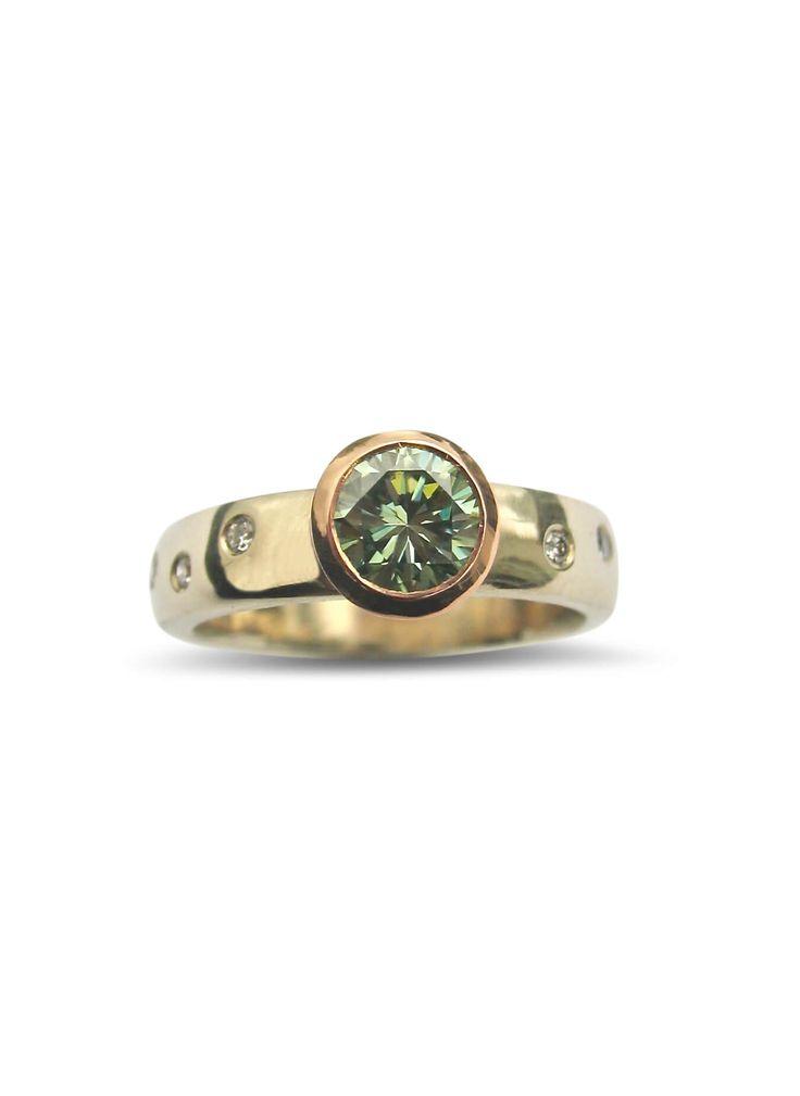 Pastel green moissanite 14ct gold