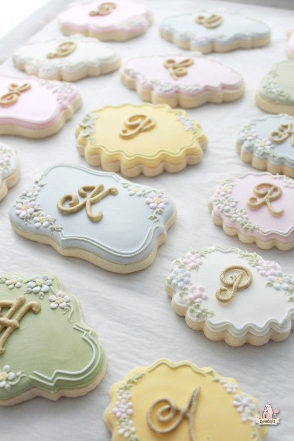 How to Make Lettered Cookies (Sweetopia). So pretty--love the colors and the little flowers!