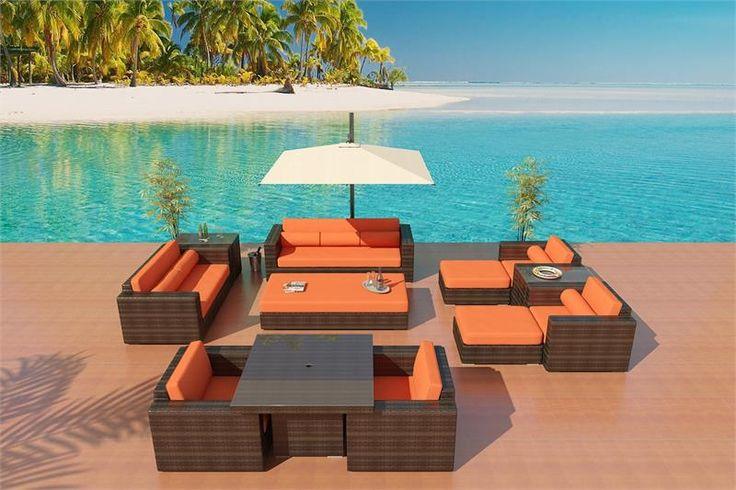 ... Wicker Patio Furniture Sectional Sofa Alexandria Bronze Virofiber Set 6 Tropical Orange Fabric
