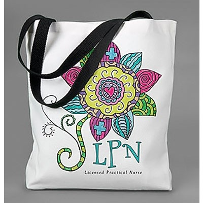 """Travel Tote Bag with """"LPN – Licensed Practical Nurse"""" Graphic"""