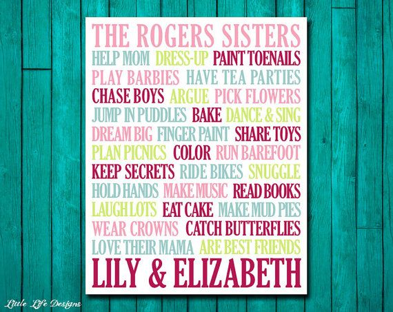 Sisters Wall Art. Girls Room Decor. Sisters Sign by LittleLifeDesigns