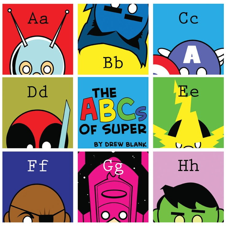 "I'd take pretty much everything on this site and put it in Patrick's room. -   ABCs of Super / 3 Poster Prints of MARVEL Super Heroes 12""x12"" prints Spider-Man / Captain America / Hulk / Wolverine / Avengers / Iron Man. $25.00, via Etsy."