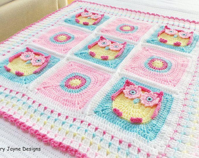 OWL BABY BLANKET Pattern  - Kerry's Owl Blanket - Owl Blanket Crochet Pattern, Owl Afghan Pattern Newborn Blanket Pattern Baby Pattern Owls