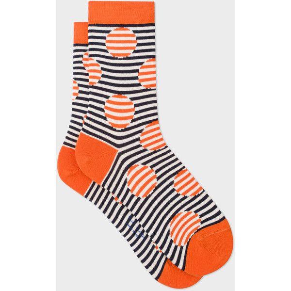 Paul Smith Women's Orange And Navy Striped-Dot Socks (290 ZAR) ❤ liked on Polyvore featuring intimates, hosiery, socks, navy blue hosiery, navy blue polka dot socks, striped cotton socks, polka dot socks and stripe socks