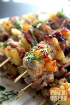 Brochettes de porc à l'ananas                                                                                                                                                     Plus