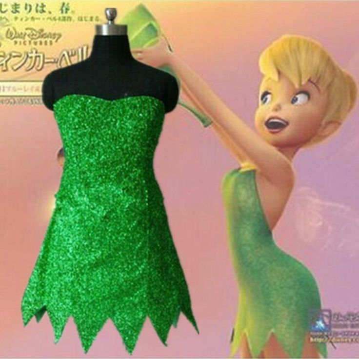 Adult Cosplay Costume Tinker Bell Dress Green Fairy Pixie Tinkerbell Fancy Dress