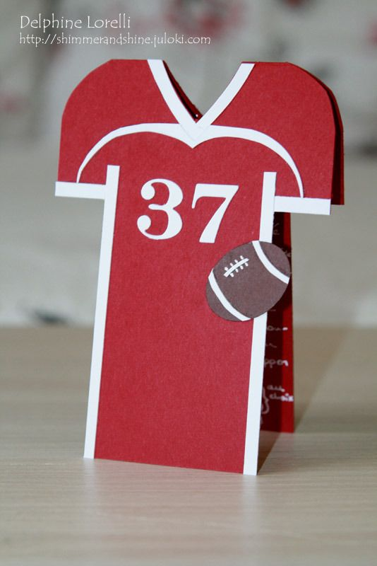 Shimmer and Shine - American Football jersey card - #StampinUp #Little #Letters…