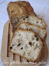 Sin gluten es más rico: Pan con uvas pasas y nueces: sin gluten, en panificadora.