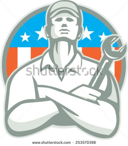 Illustration of a mechanic worker wearing hat arms crossed holding wrench looking up set inside shield crest with american usa flag stars and stripes in the background done in retro style. #mechanic #laborday #retro #illustration