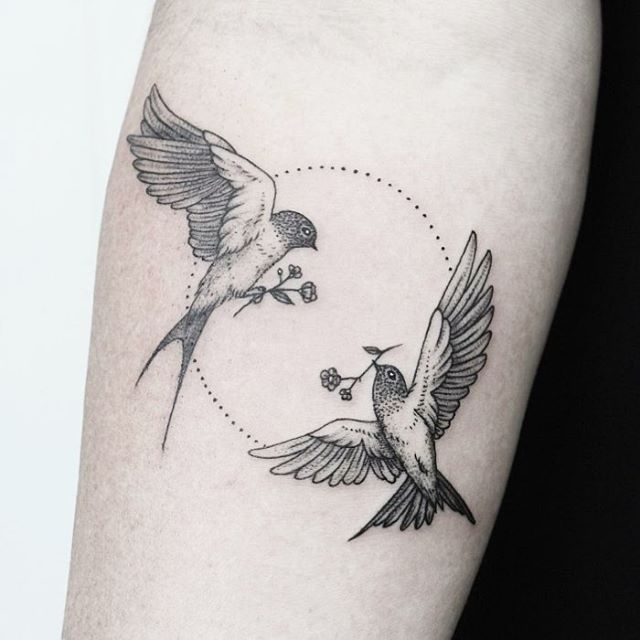 Lovely Black Minimal Tattoo Of Two Birds Carrying Flowers Tattoo Designs Men Circle Tattoos Tattoos