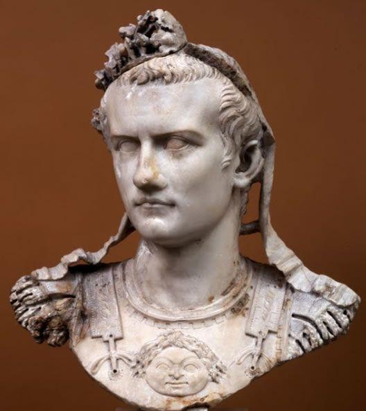 Bust of Caligula. (Glyptothèque de Munich) /// Caligula - Gaius Caesar Germanicus (born 31 August, 12 AD, Antium, Latium — died 24 January, 41, Rome) Roman emperor from 37 to 41 AD, in succession to Tiberius