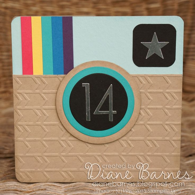 instagram teen birthday card using Stampin up cards  & dies. By Di Barnes #colourmehappy