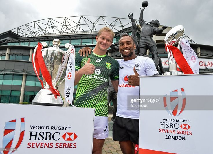 Philip Snyman of South Africa and Osea Kolinisau of Fiji during the HSBC London Sevens Captains Photocall session at Twickenham Stadium on May 18, 2016 in London, England.