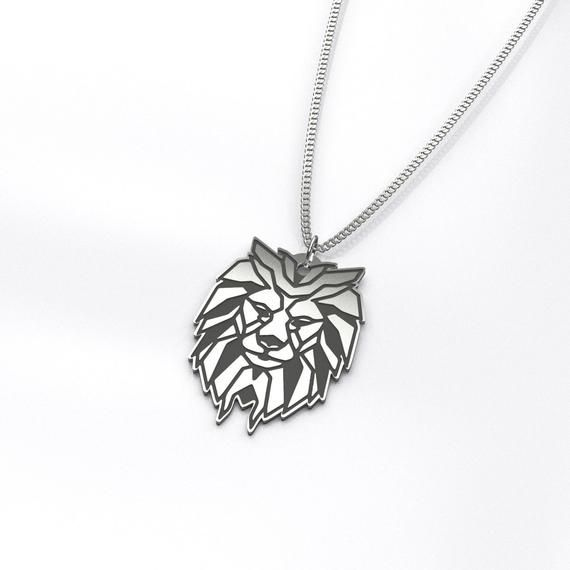 Royal Lion Silver Heart Necklace Geometric Wolf