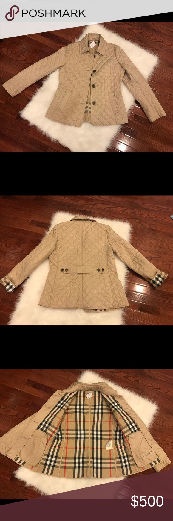 NWT tan cream Burberry Brit jacket medium NWT tan/cream color Burberry Brit jacket size medium, adjustable belt in the back. Not sure if I like like this color enough to keep hence why I haven't taken the tags off. No bundle discounts Burberry Jackets & Coats