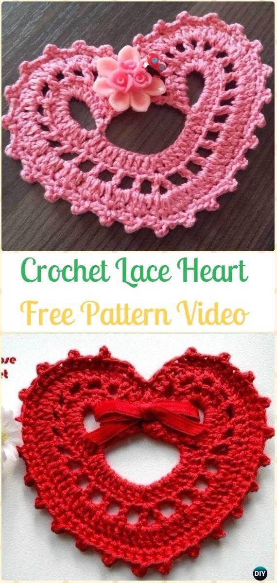 Crochet Lace Heart Free Pattern-Crochet Heart Applique Free Patterns